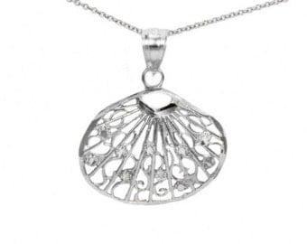 14k White Gold Thin Seashell Necklace