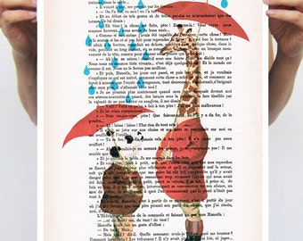 Panda Poster, Giraffe Artwork, Alice in Wonderland, Christmas gift,umbrella, print from original painting by Coco de Paris: Nice to meet you