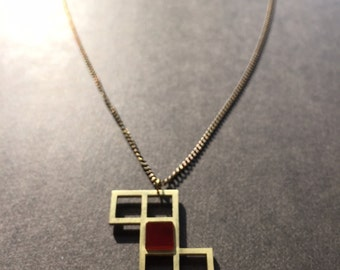 Cube unfolded - brass carnelian pendant necklace