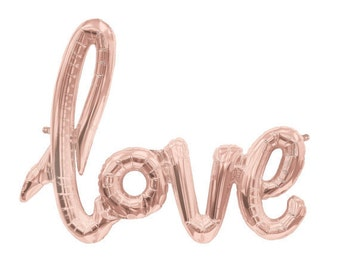 Rose gold LOVE script foil balloon (102cm)