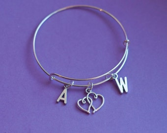 initial bangle, initial bracelet, personalized bangle, initial jewelry, monogram bracelet, hearts bangle, heart charm, couple gift, lovers