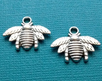 10 Bee Charms Silver Honey Bee Charm - CS2502