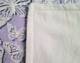 Flannel Throw Blanket -Travel-Lap-Toddler-Wheelchair-42x60-Bedding-Purple Butterfly-Home Decor-Birthday-Christmas