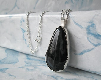 Black necklace, silver necklace, silver chain necklace, necklaces for mothers