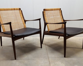 Pair of Rare Ib Kofod Larsen Danish Modern Cane Back Lounge Chairs: Selig, Made in Denmark