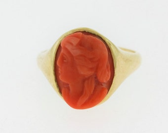 Red Coral Cameo Ring, Antique Coral Ring, 14k Gold Coral Ring, Red Stone Jewelry
