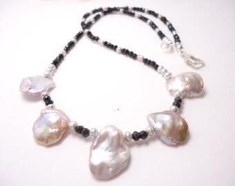 Keishi Onyx Necklace Keishi Perl Freshwater Perl Necklace Beaded Necklace Keishi Jewelry