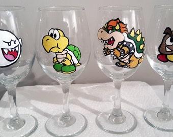 Paper Mario Inspired Villains Handpainted Wine Glasses