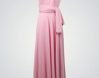 Light pink dress, Floor-length infinity dress,Powder pink dress, Light pink long dress,Pink long dress, Long bridesmaid dress