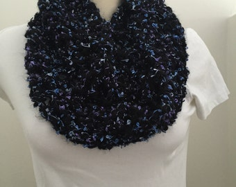 Soft, Black with Purple and Blue Metallic Thread Infinity Scarf