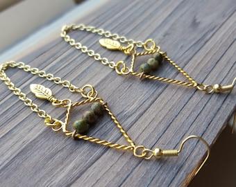 Gold Chandelier Earrings with Green Unakite