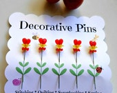 Decorative Sewing Pins - Valentine Gift - Heart Pins - Flower Pin - Quilting Pins - Embellishment Pins - Thread Catcher Pins - Pin Topper