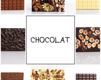 Your choice of 12 chocolate bars, dark chocolate, milk chocolate, hazelnuts chocolate, fruits chocolate, chocolate tablet, chocolate bar