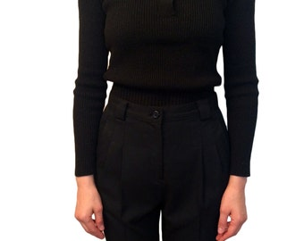1940s Sweater, Black Stretch Knit with Rhinestone Buttons