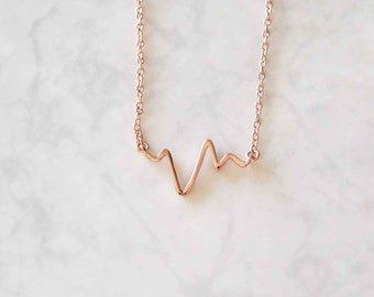 Sterling Heartbeat Necklace, Rose Gold Necklace, Valentines Necklace, Love Necklace, Heart Necklace, Girlfriend Gift, Girlfriend Necklace