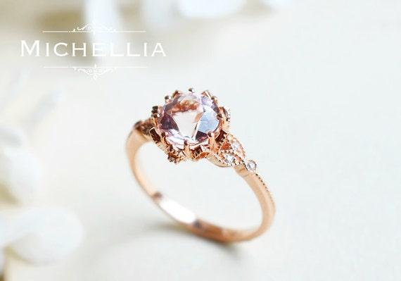 Vintage Morganite Floral Engagement Ring in 14K or 18K Gold