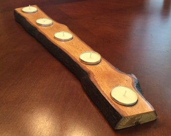 Wood Tea Light Candle Holder, Rustic Candle Holder, Rustic Centerpiece, Holds 5 Tea Lights