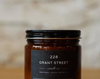 9oz Botanical Garden Amber Jar Scented Soy Candle