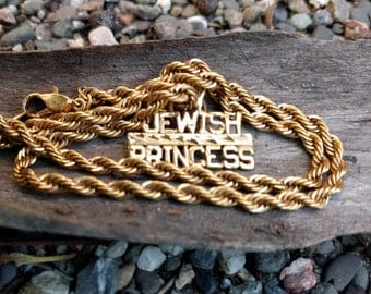 "Gold ""Jewish Princess"" Chain Necklace"