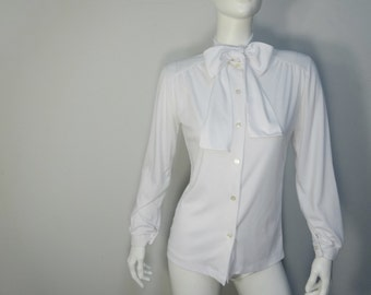 Vintage 1980's White Blouse with Bow