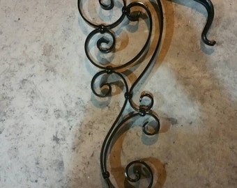 Wrought Iron 1 to 2 Step Grab Rail Handrail Forged Handmade Old School industrial Victorian Tuscan