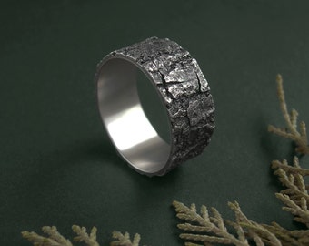 Sterling silver bark ring, botanical jewelry, statement band, nature inspired, mens ring, woodland jewelry, textured ring, wide unisex band