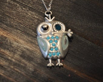 Owl Necklace, Silver and Turquoise Necklace, Animal Jewelry, Bird, Boho Chic Jewelry, Adorable, Pendant Necklace, Fun Jewelry