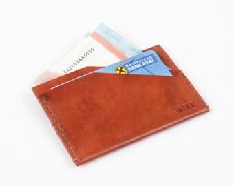 Leather Card Holder, Leather Cardholder, Leather Card Wallet, Leather Card Case, Leather Business Card Holder, Two-Sided Cardholder