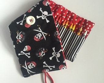 Crayon Roll - 24 Crayons - Kids Coloring - Black, White, and Red- Pirates