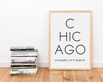 Chicago City, Typography Wall Art, Chicago City Wall Art, Chicago Art, Typography Poster, Chicago Print,  Chicago City Poster, Chicago