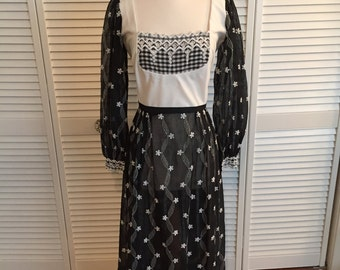 1970s black and white gingham and lace maxi dress