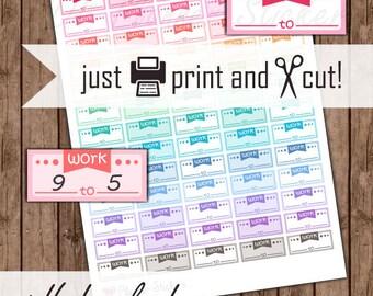 Work Planner Stickers, Work Schedule Stickers, Printable Calendar Stickers