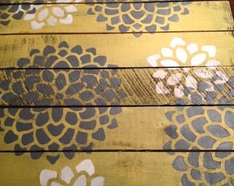Grey & yellow Dahlia pallet artwork- 2 ft. X 2 ft.