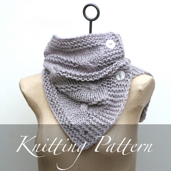 Knitting Pattern For Scarf With Buttonhole : Knitting Pattern: The Cabeletta Scarf Scarf Pattern Button