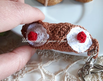 """Key ring / accessory bags , crocheted - Sicilian """"cannoli""""- hand made"""
