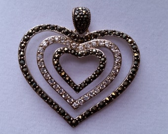Marcasite and Crystal Heart Pendant (pendant only) Sterling Silver
