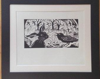 Rabbit hare art-rabbit lover gift-crow print-nursery art-christening gift-holiday wall art-flying birds-garden woodland-animal lover gift
