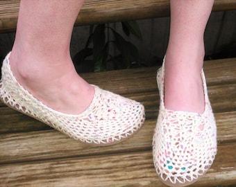 Flip Flop Slippers - Lightweight Crochet Handmade Slippers with Flip Flop Sole - shoes