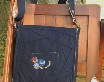 Blue and Orange Satchel Bag/Knitting/Craft Bag - Recycled Suit Coat