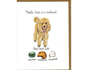 Poodle Dog Greeting Card, Dog Cards, Poodle Art