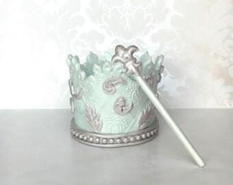READY TO SHIP!! /Prince Birthday Crown Cake topper/Edible crown cake topper/ Baby Shower crown Cake Topper/ Baptism fondant crown topper
