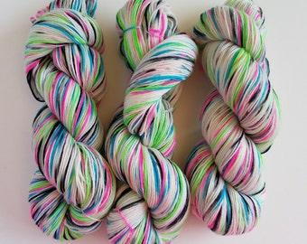 SUGAR SKULL- Hand Dyed Superwash Sock Yarn- Hand Dyed Superwash Merino Nylon- 462 yards