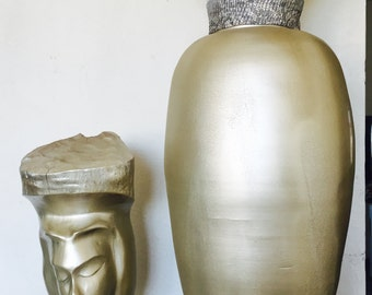 Gold sculpture and vase set