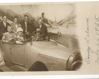 "1925 Real Photograph Postcard ""Out For A Ride In Coney Island"" Studio Automobile"
