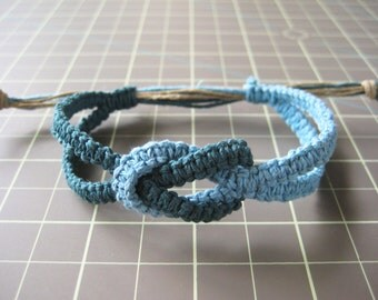Infinity Hemp Bracelet - Blue - Natural and Adjustable