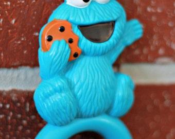 Sesame Street rattle 1990, Cookie Monster Rattle, Baby Cookie Monster, baby toys, 1990's toys, Sesame Street Toys, baby shower gift