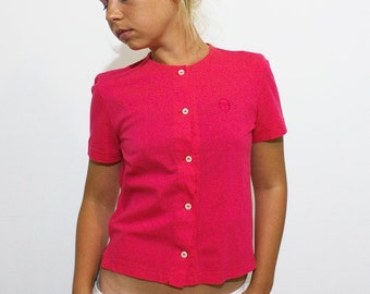 Sergio Tacchini Hot Pink Button-up T-shirt