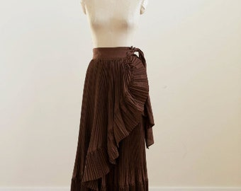 Vintage Byblos Chocolate Brown Pleated Skirt with Faux Wrap Front