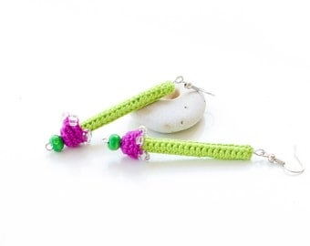 Designer Earrings Bijou. Bijou Summer Jewelry. Crochet Earrings. Crochet Jewelry