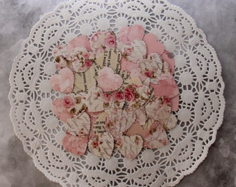Shabby Elegant Mixed Paper Heart Confetti, Vintage and New Paper Die Cuts, Wedding Table Mini Hearts Shapes, Valentine's Day Decoration